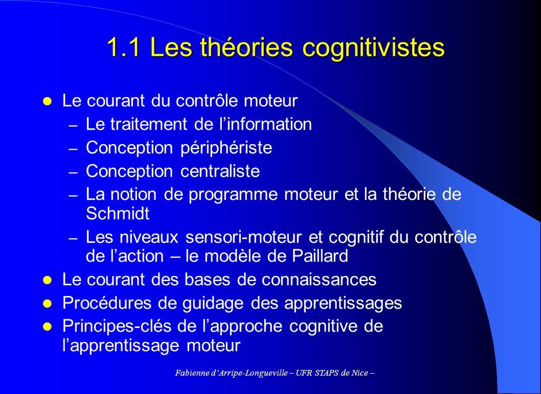Fabienne dArripe-Longueville – UFR STAPS de Nice – 1.1 Les théories cognitivistes Le courant du contrôle moteur – Le traitement de linformation – Conc