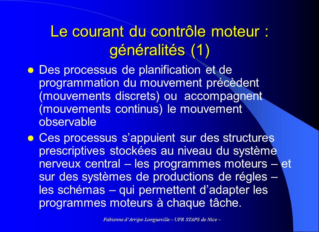Fabienne dArripe-Longueville – UFR STAPS de Nice – Le courant du contrôle moteur : généralités (1) Des processus de planification et de programmation