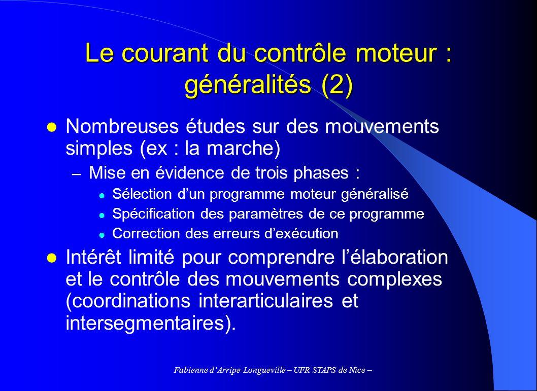Fabienne dArripe-Longueville – UFR STAPS de Nice – Le courant du contrôle moteur : généralités (2) Nombreuses études sur des mouvements simples (ex :