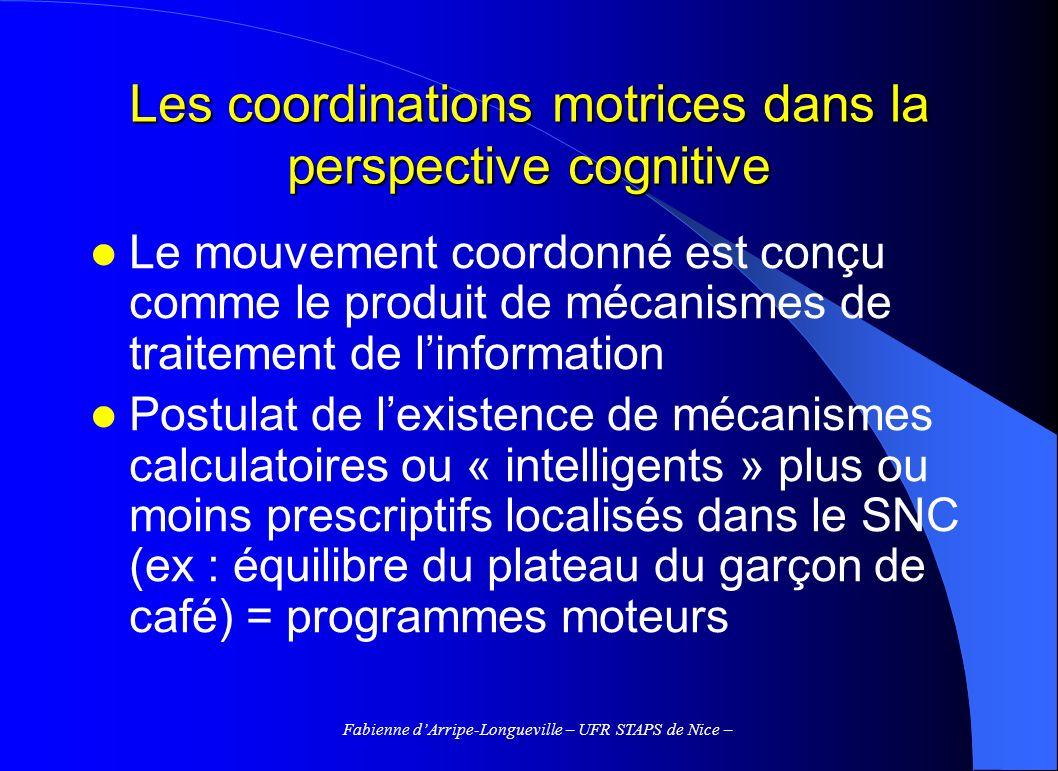 Fabienne dArripe-Longueville – UFR STAPS de Nice – Les coordinations motrices dans la perspective cognitive Le mouvement coordonné est conçu comme le