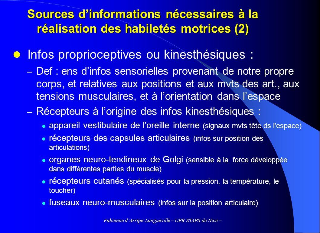 Fabienne dArripe-Longueville – UFR STAPS de Nice – Sources dinformations nécessaires à la réalisation des habiletés motrices (2) Infos proprioceptives