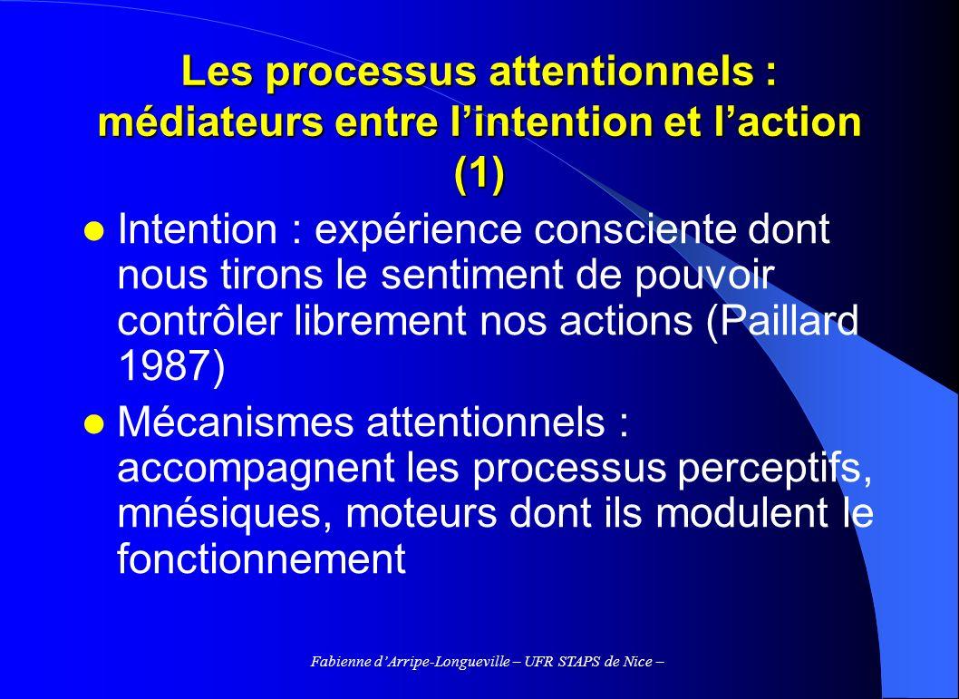Fabienne dArripe-Longueville – UFR STAPS de Nice – Les processus attentionnels : médiateurs entre lintention et laction (1) Intention : expérience con