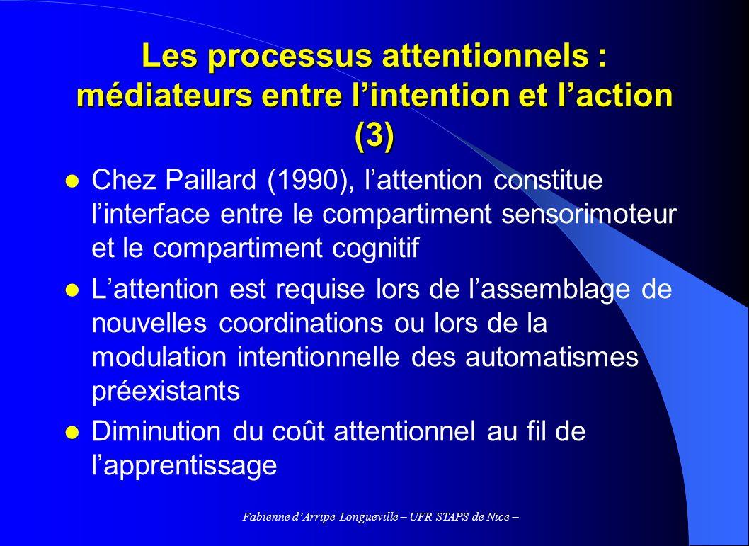 Fabienne dArripe-Longueville – UFR STAPS de Nice – Les processus attentionnels : médiateurs entre lintention et laction (3) Chez Paillard (1990), latt