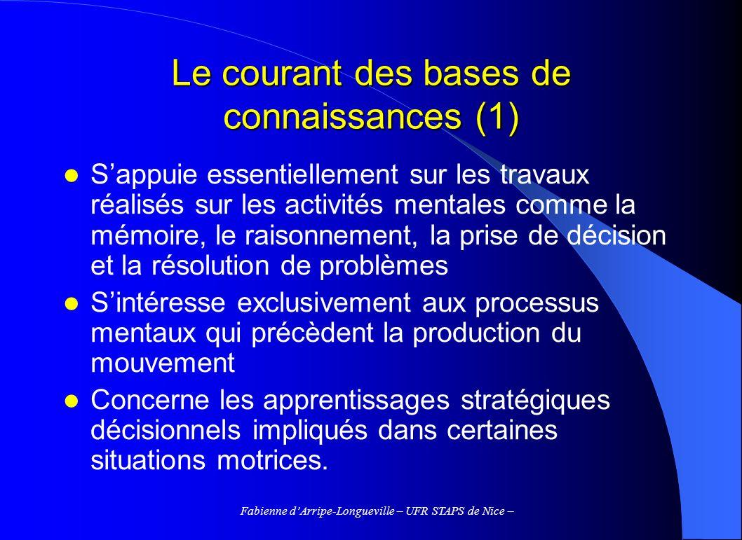 Fabienne dArripe-Longueville – UFR STAPS de Nice – Le courant des bases de connaissances (1) Sappuie essentiellement sur les travaux réalisés sur les
