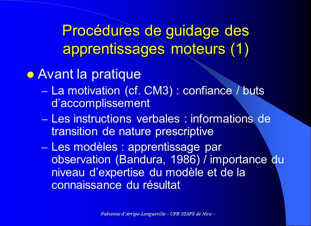 Fabienne dArripe-Longueville – UFR STAPS de Nice – Procédures de guidage des apprentissages moteurs (1) Avant la pratique – La motivation (cf. CM3) :