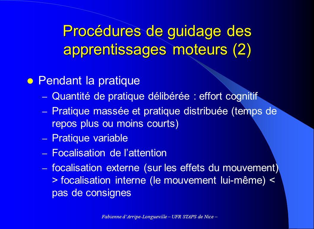 Fabienne dArripe-Longueville – UFR STAPS de Nice – Procédures de guidage des apprentissages moteurs (2) Pendant la pratique – Quantité de pratique dél
