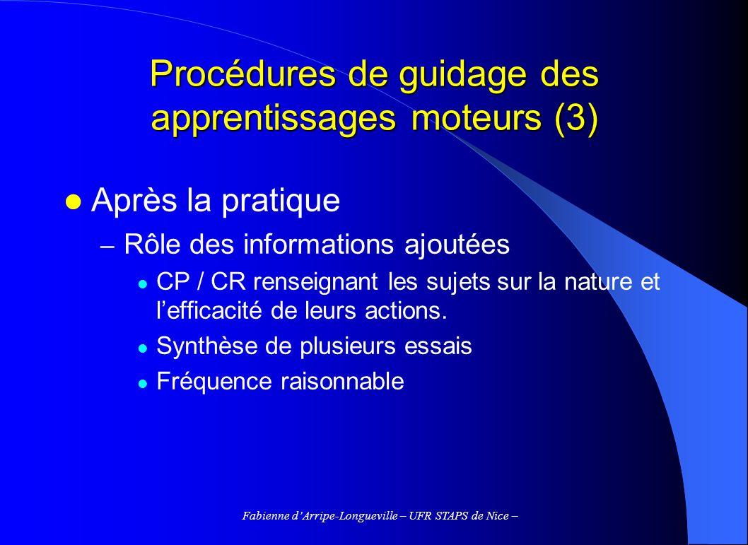 Fabienne dArripe-Longueville – UFR STAPS de Nice – Procédures de guidage des apprentissages moteurs (3) Après la pratique – Rôle des informations ajou