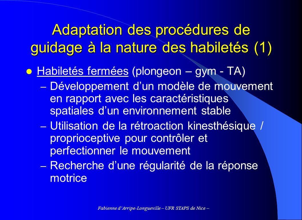 Fabienne dArripe-Longueville – UFR STAPS de Nice – Adaptation des procédures de guidage à la nature des habiletés (1) Habiletés fermées (plongeon – gy