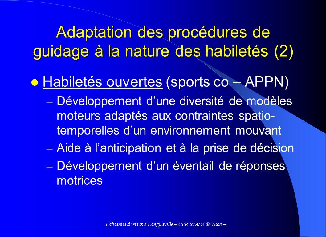 Fabienne dArripe-Longueville – UFR STAPS de Nice – Adaptation des procédures de guidage à la nature des habiletés (2) Habiletés ouvertes (sports co –
