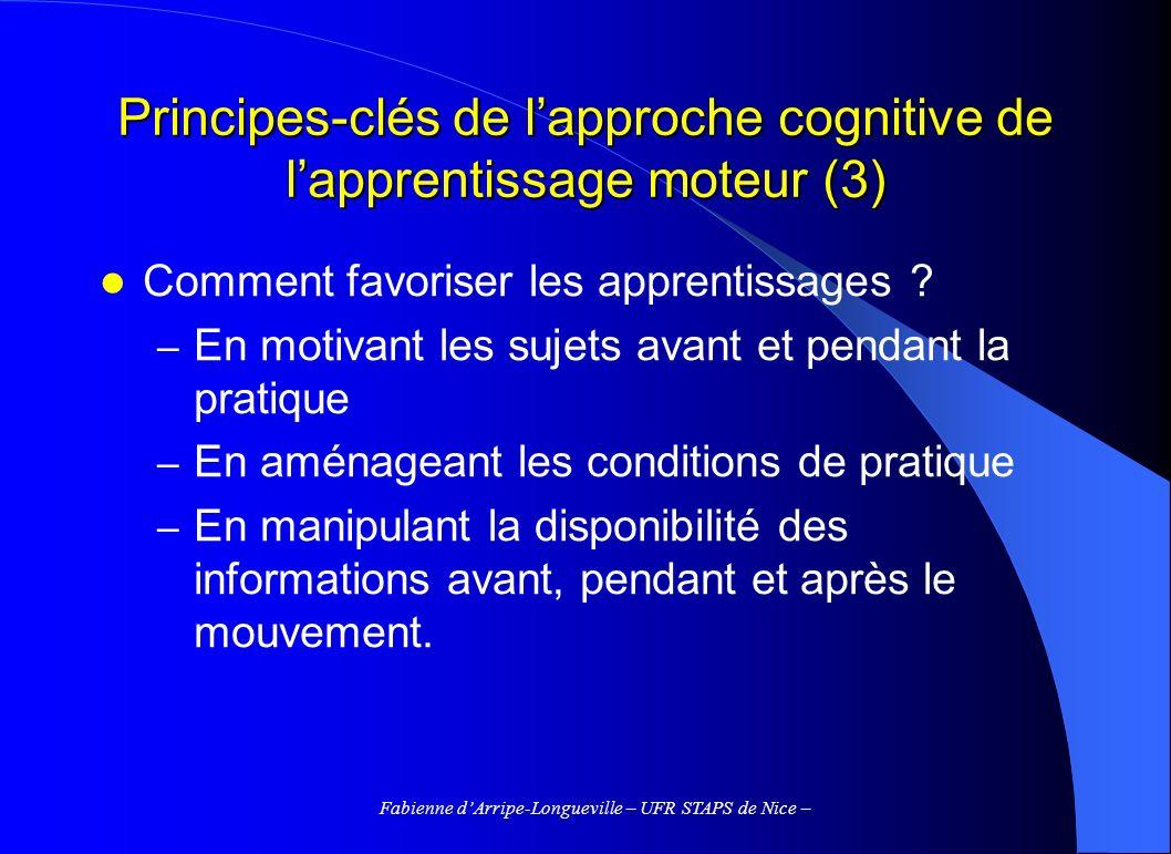 Fabienne dArripe-Longueville – UFR STAPS de Nice – Principes-clés de lapproche cognitive de lapprentissage moteur (3) Comment favoriser les apprentiss