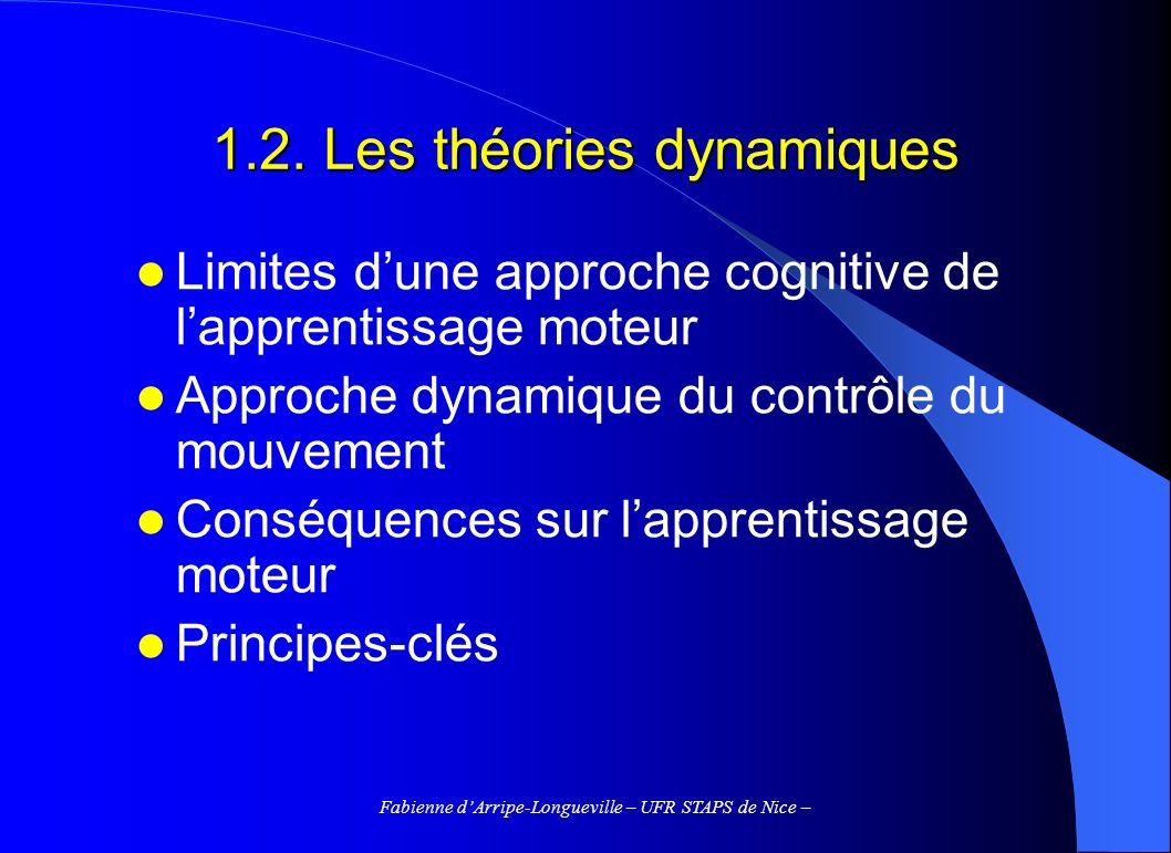 Fabienne dArripe-Longueville – UFR STAPS de Nice – 1.2. Les théories dynamiques Limites dune approche cognitive de lapprentissage moteur Approche dyna