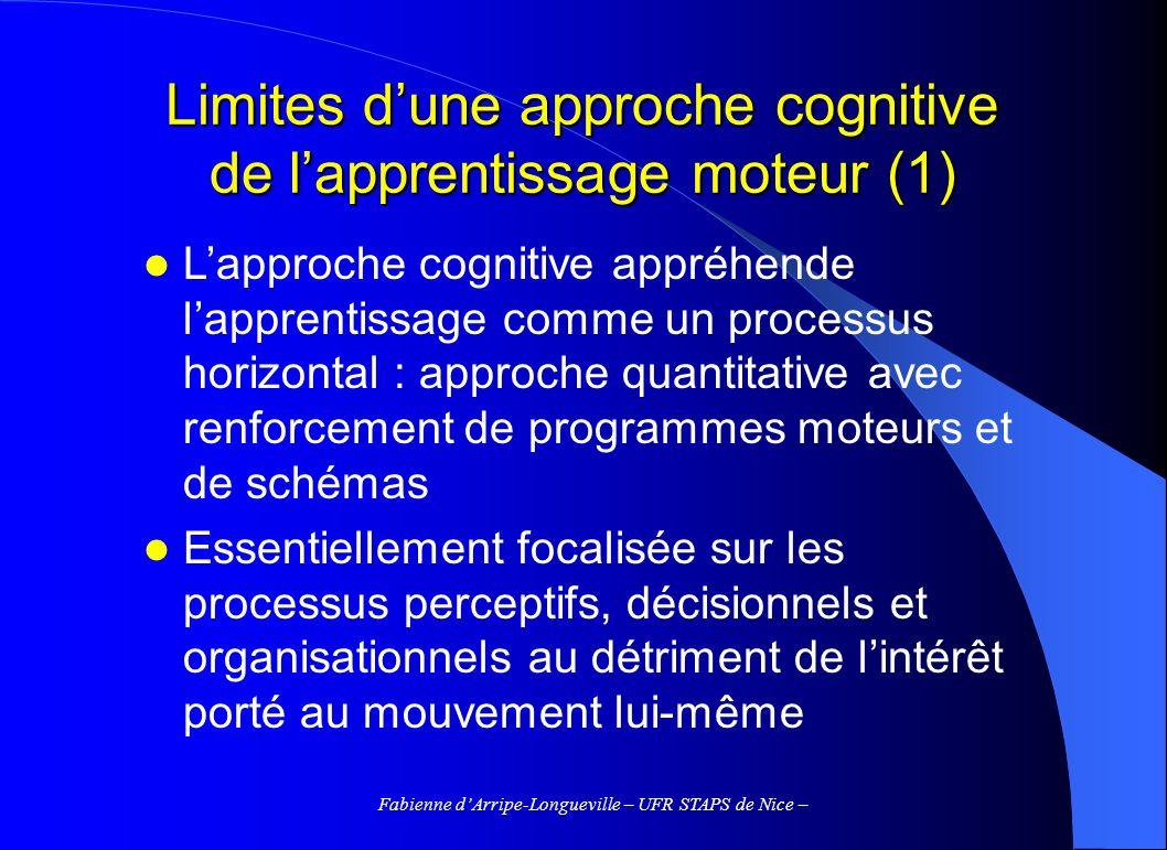 Fabienne dArripe-Longueville – UFR STAPS de Nice – Limites dune approche cognitive de lapprentissage moteur (1) Lapproche cognitive appréhende lappren