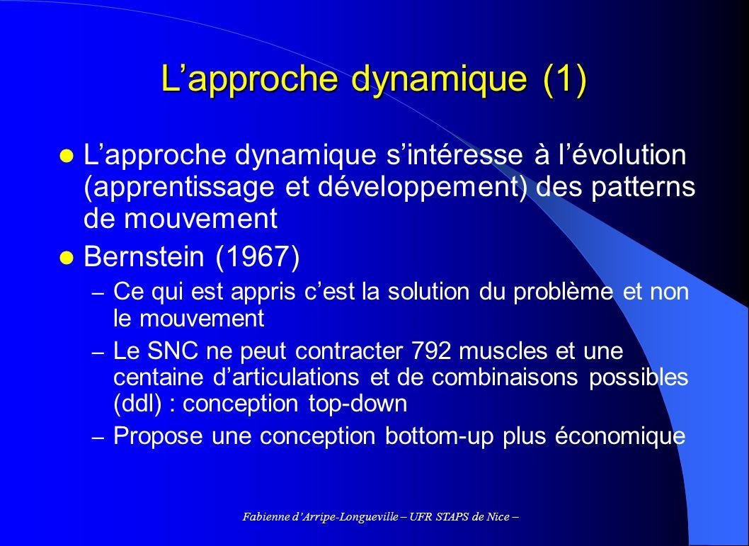 Fabienne dArripe-Longueville – UFR STAPS de Nice – Lapproche dynamique (1) Lapproche dynamique sintéresse à lévolution (apprentissage et développement