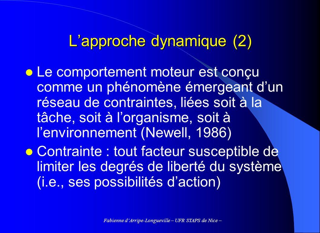 Fabienne dArripe-Longueville – UFR STAPS de Nice – Lapproche dynamique (2) Le comportement moteur est conçu comme un phénomène émergeant dun réseau de