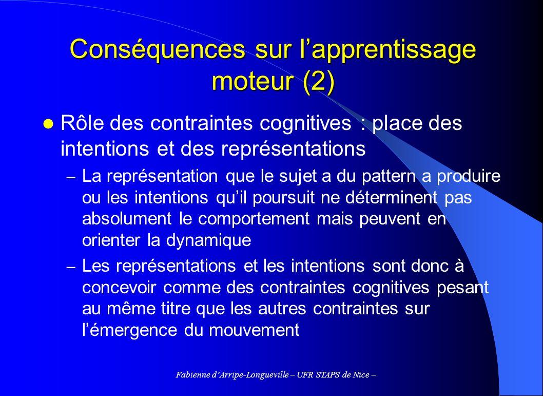 Fabienne dArripe-Longueville – UFR STAPS de Nice – Conséquences sur lapprentissage moteur (2) Rôle des contraintes cognitives : place des intentions e