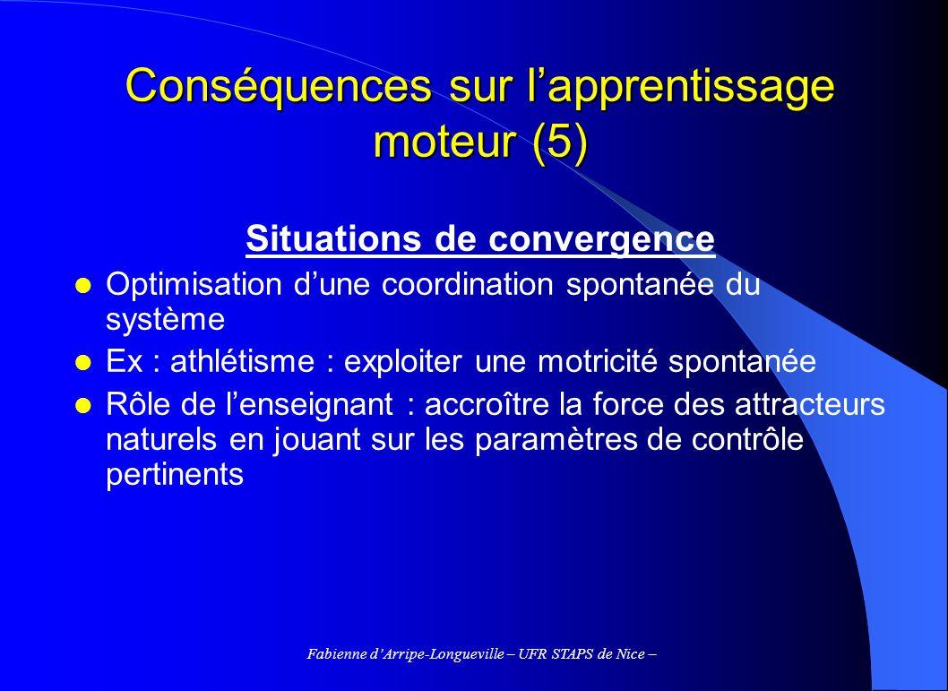Fabienne dArripe-Longueville – UFR STAPS de Nice – Conséquences sur lapprentissage moteur (5) Situations de convergence Optimisation dune coordination