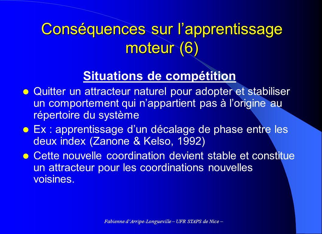Fabienne dArripe-Longueville – UFR STAPS de Nice – Conséquences sur lapprentissage moteur (6) Situations de compétition Quitter un attracteur naturel