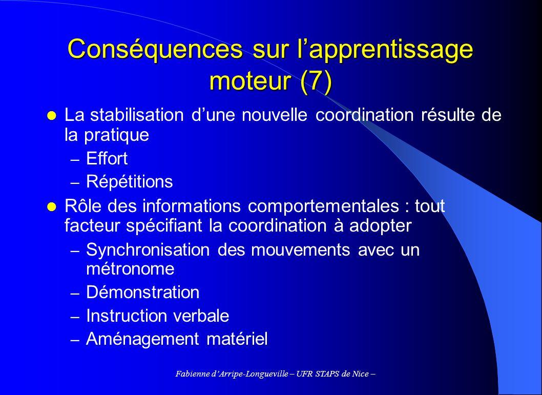 Fabienne dArripe-Longueville – UFR STAPS de Nice – Conséquences sur lapprentissage moteur (7) La stabilisation dune nouvelle coordination résulte de l