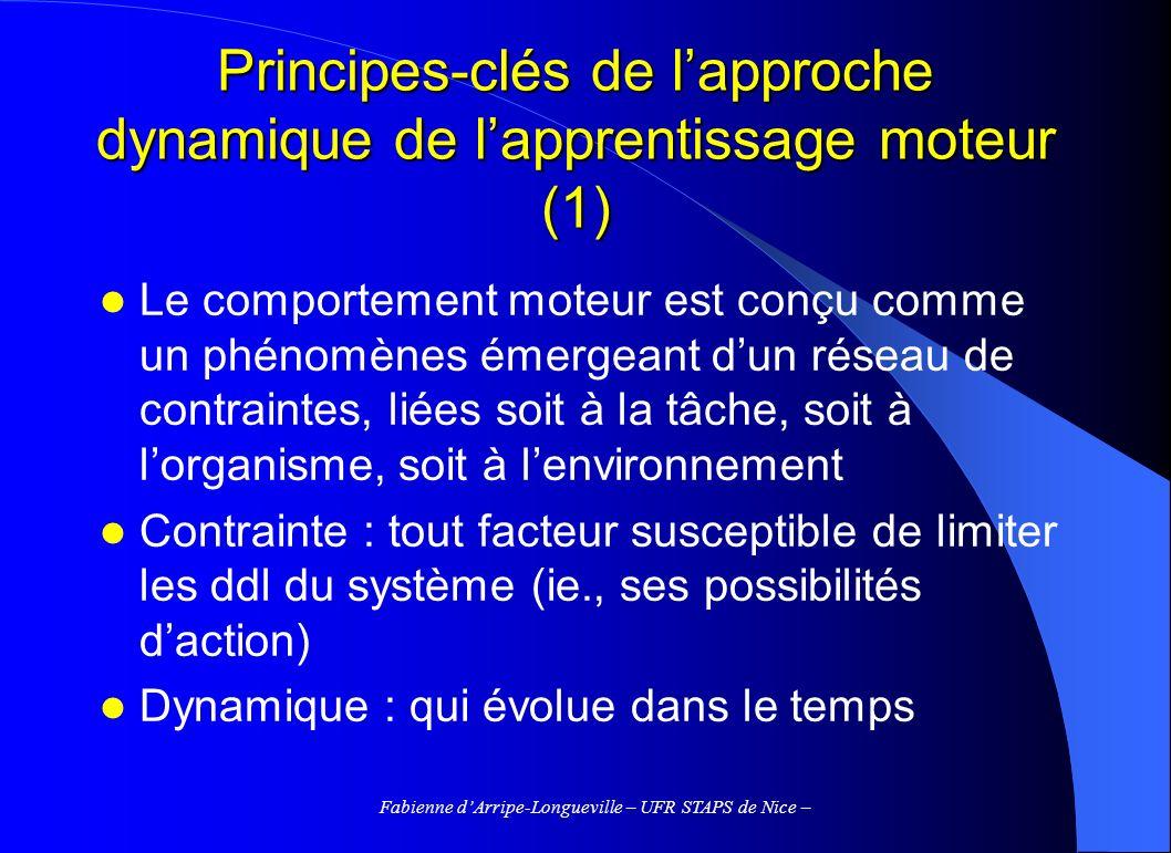 Fabienne dArripe-Longueville – UFR STAPS de Nice – Principes-clés de lapproche dynamique de lapprentissage moteur (1) Le comportement moteur est conçu