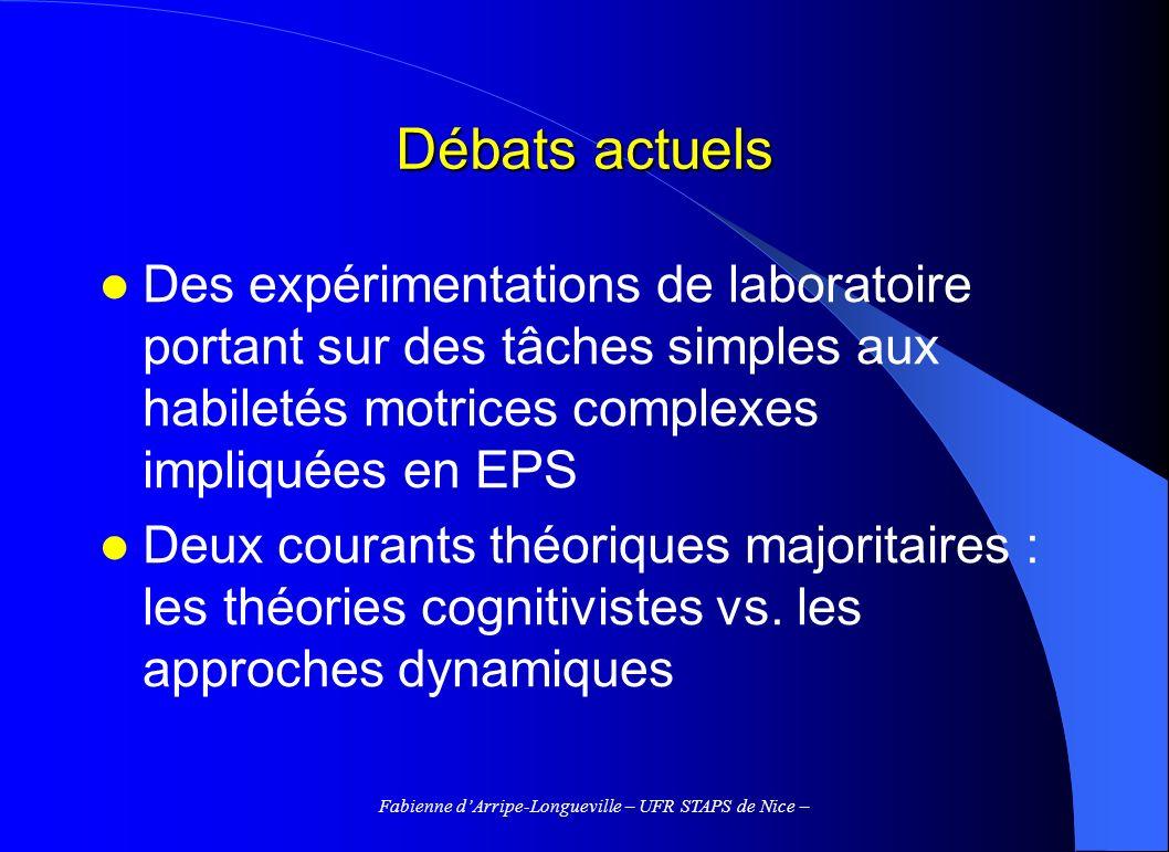 Fabienne dArripe-Longueville – UFR STAPS de Nice – Débats actuels Des expérimentations de laboratoire portant sur des tâches simples aux habiletés mot