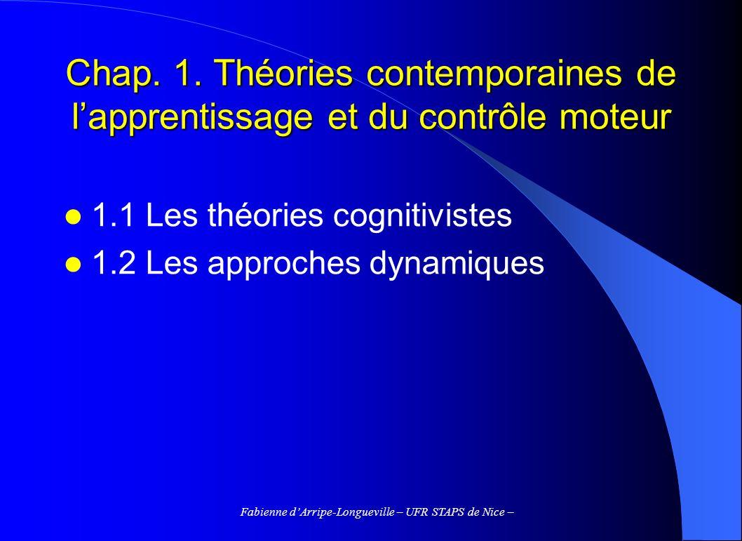 Fabienne dArripe-Longueville – UFR STAPS de Nice – Chap. 1. Théories contemporaines de lapprentissage et du contrôle moteur 1.1 Les théories cognitivi