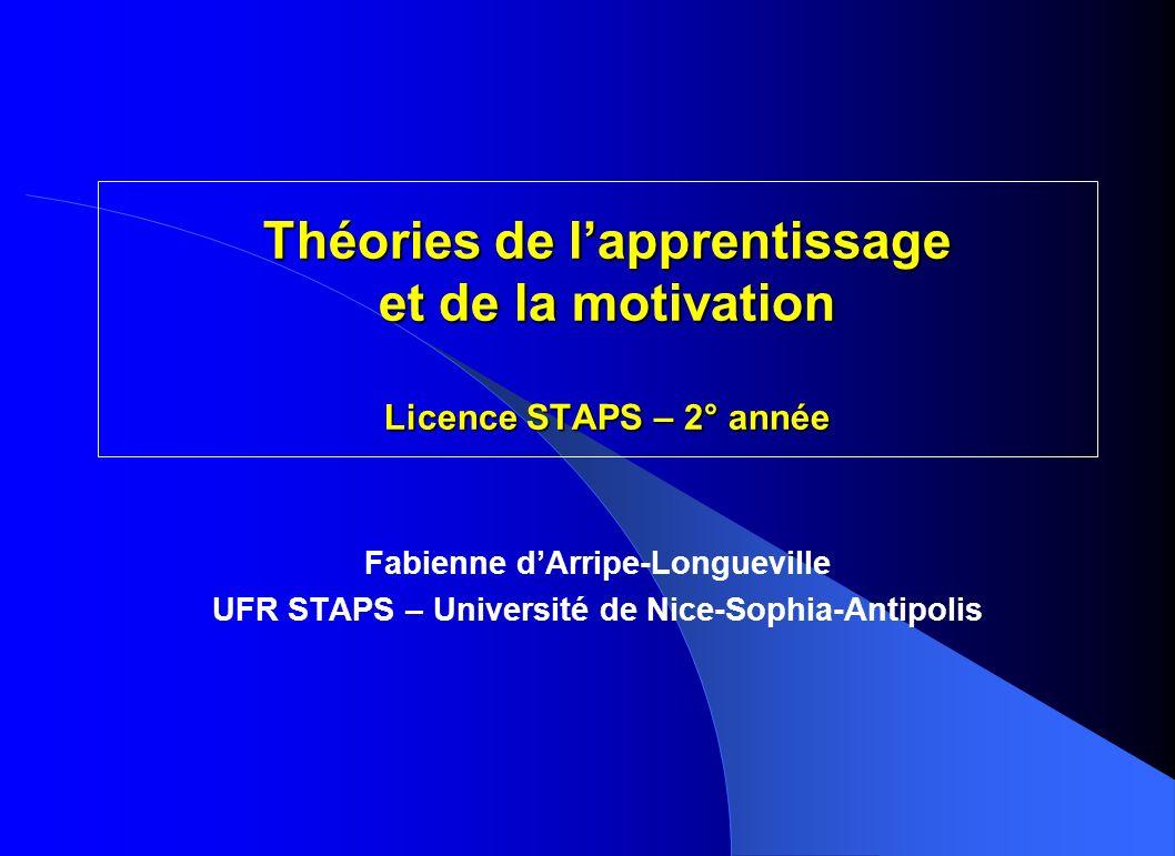 Fabienne dArripe-Longueville – UFR STAPS de Nice – 3.2 La difficulté des tâches 3.2.1 Le concept de tâche motrice 3.2.2 Lanalyse de la tâche 3.2.3 Typologies classiques des tâches motrices 3.2.4 Les mesures de la difficulté de la tâche 3.2.5 La perception de la difficulté
