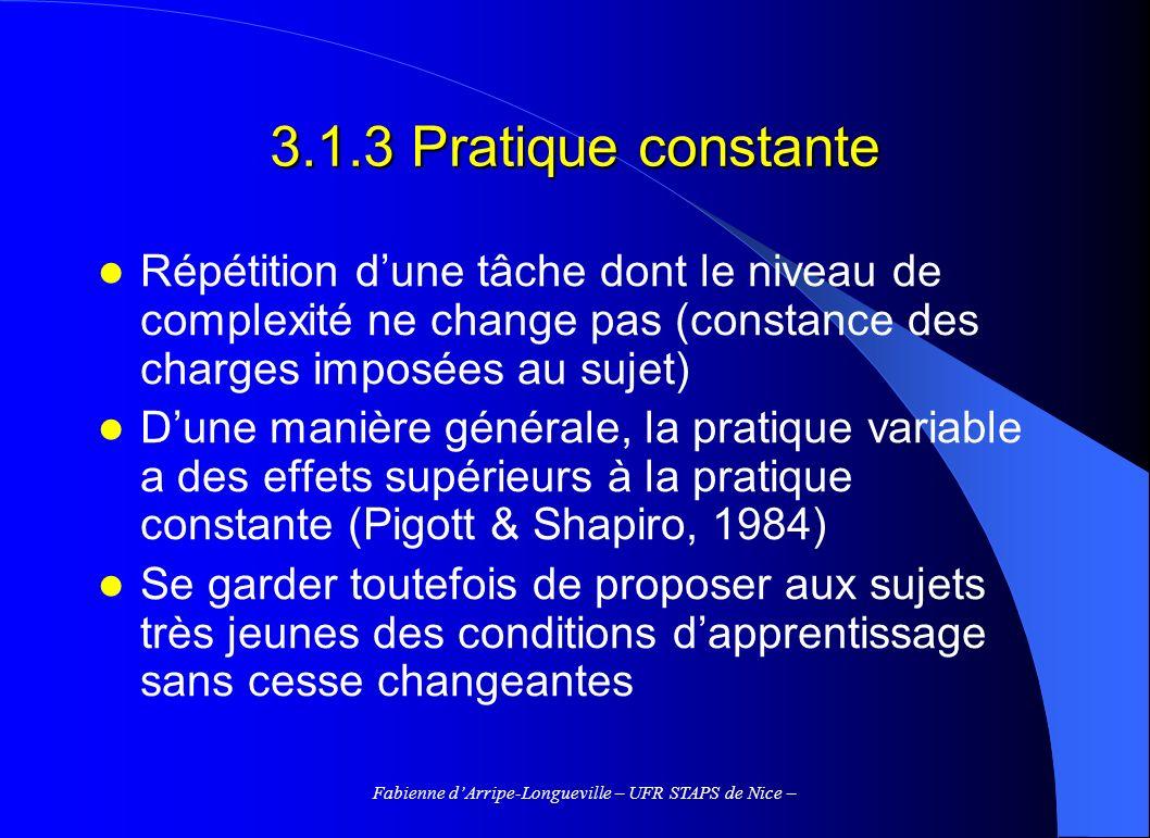 Fabienne dArripe-Longueville – UFR STAPS de Nice – 3.1.3 Pratique constante Répétition dune tâche dont le niveau de complexité ne change pas (constanc