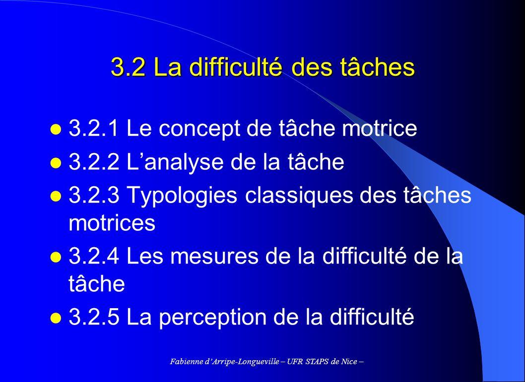 Fabienne dArripe-Longueville – UFR STAPS de Nice – 3.2 La difficulté des tâches 3.2.1 Le concept de tâche motrice 3.2.2 Lanalyse de la tâche 3.2.3 Typ