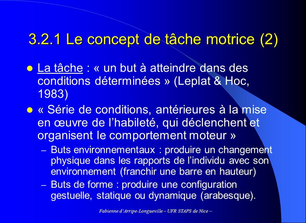 Fabienne dArripe-Longueville – UFR STAPS de Nice – 3.2.1 Le concept de tâche motrice (2) La tâche : « un but à atteindre dans des conditions déterminé