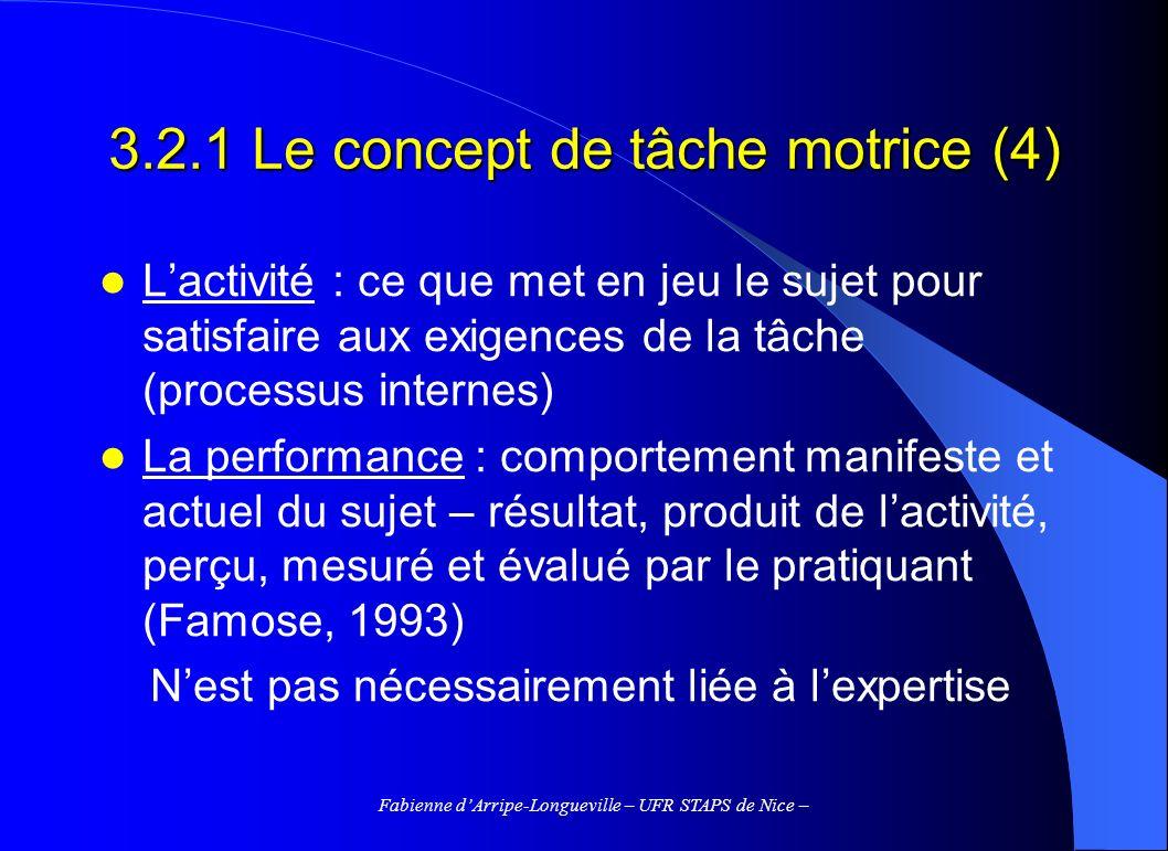 Fabienne dArripe-Longueville – UFR STAPS de Nice – 3.2.1 Le concept de tâche motrice (4) Lactivité : ce que met en jeu le sujet pour satisfaire aux ex