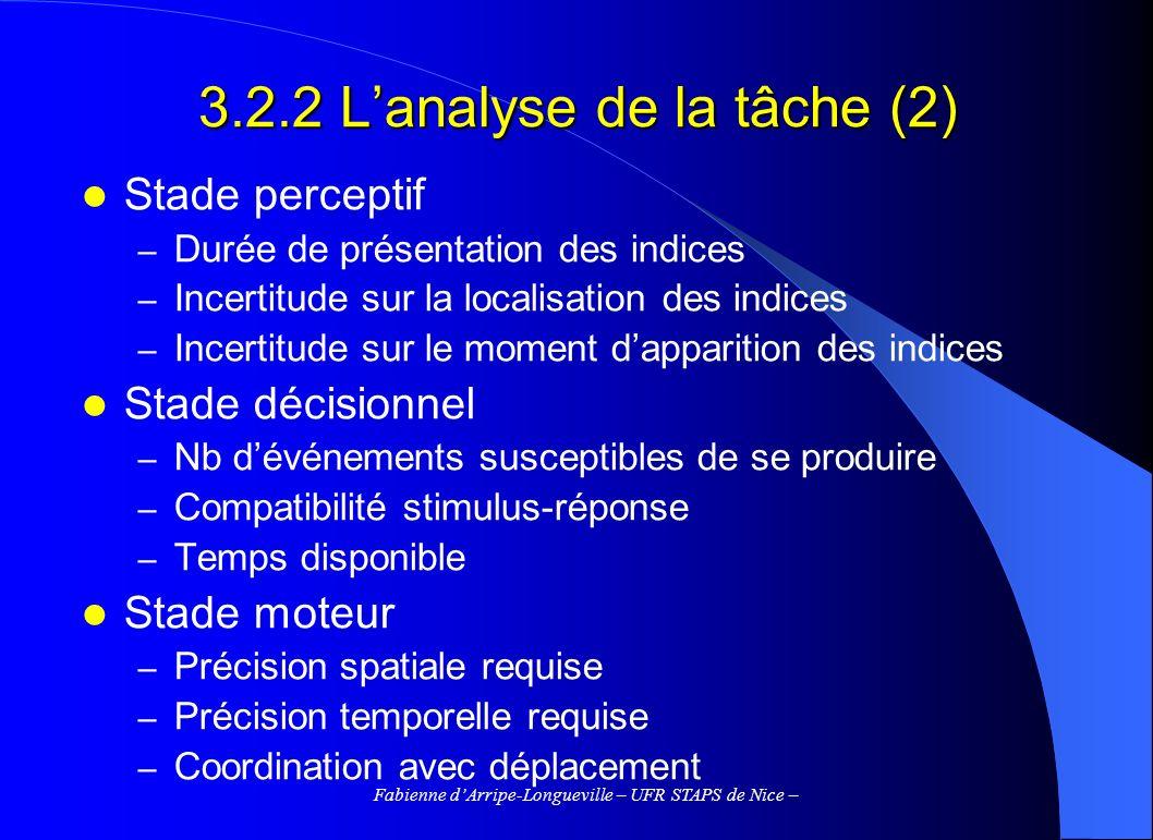 Fabienne dArripe-Longueville – UFR STAPS de Nice – 3.2.2 Lanalyse de la tâche (2) Stade perceptif – Durée de présentation des indices – Incertitude su
