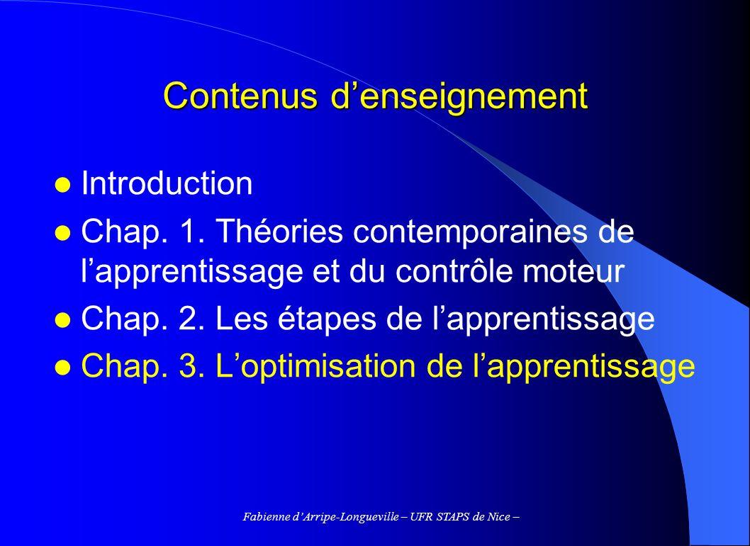 Fabienne dArripe-Longueville – UFR STAPS de Nice – 3.2.4 Les mesures de la difficulté de la tâche Difficulté « objective » Tâches à dominante bioénergétique : mesure de la distance à parcourir, de la vitesse à réaliser, du poids à soulever… Tâches à dominante informationnelle : la quantité dinformation à traiter serait un indicateur de sa difficulté =>Tâche de Fitts, 1954 Le TM croît linéairement avec lindice de difficulté, en particulier pour les mouvements simples