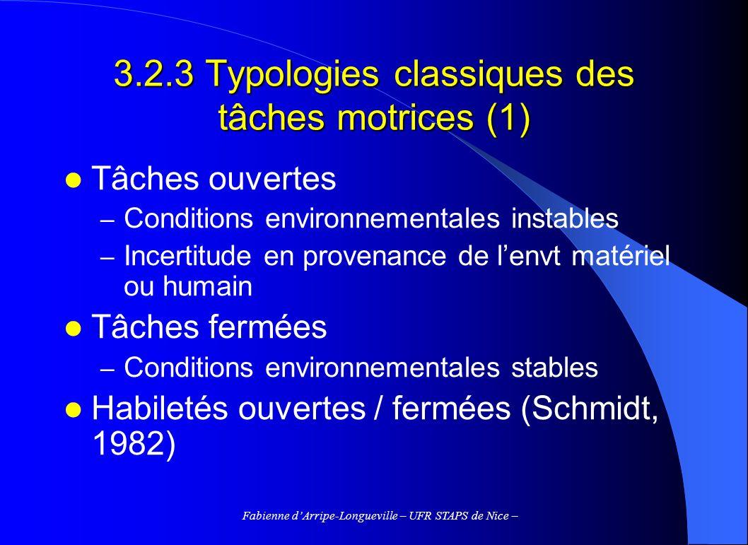 Fabienne dArripe-Longueville – UFR STAPS de Nice – 3.2.3 Typologies classiques des tâches motrices (1) Tâches ouvertes – Conditions environnementales