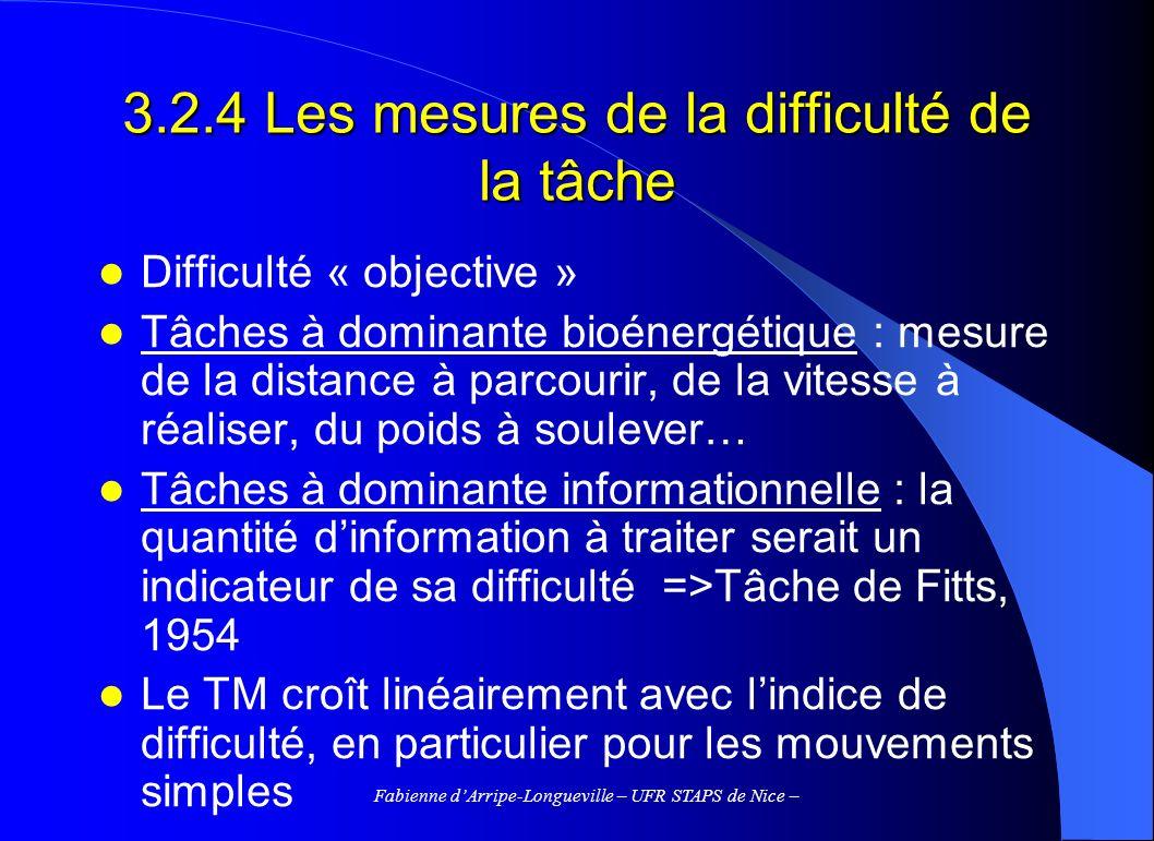 Fabienne dArripe-Longueville – UFR STAPS de Nice – 3.2.4 Les mesures de la difficulté de la tâche Difficulté « objective » Tâches à dominante bioénerg