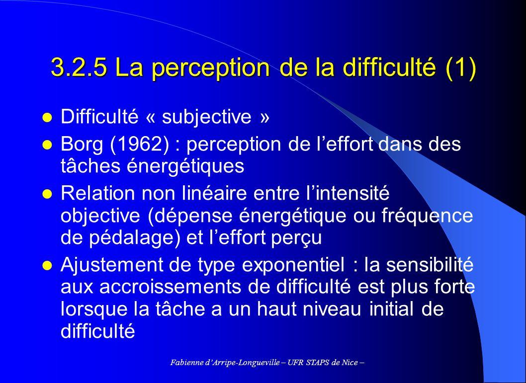 Fabienne dArripe-Longueville – UFR STAPS de Nice – 3.2.5 La perception de la difficulté (1) Difficulté « subjective » Borg (1962) : perception de leff