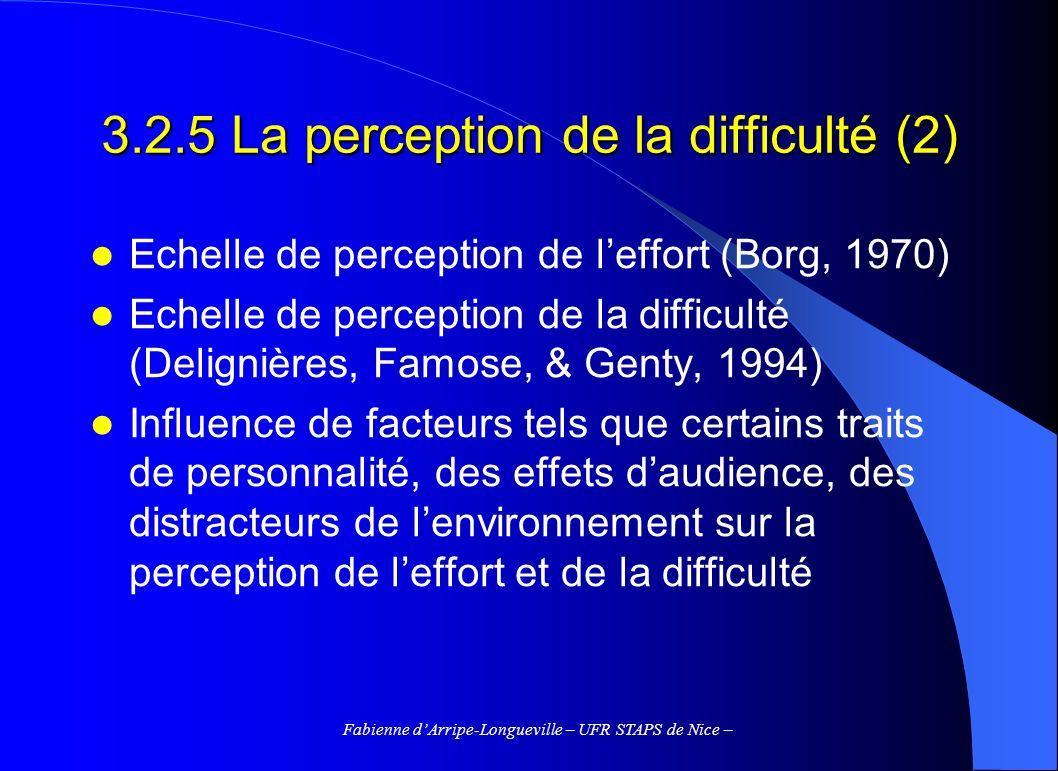 Fabienne dArripe-Longueville – UFR STAPS de Nice – 3.2.5 La perception de la difficulté (2) Echelle de perception de leffort (Borg, 1970) Echelle de p