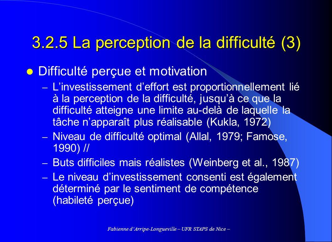 Fabienne dArripe-Longueville – UFR STAPS de Nice – 3.2.5 La perception de la difficulté (3) Difficulté perçue et motivation – Linvestissement deffort
