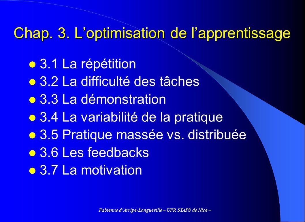 Fabienne dArripe-Longueville – UFR STAPS de Nice – Chap. 3. Loptimisation de lapprentissage 3.1 La répétition 3.2 La difficulté des tâches 3.3 La démo