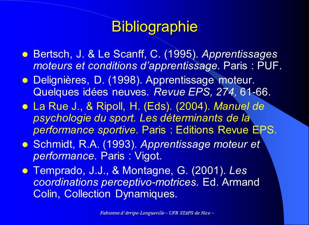 Fabienne dArripe-Longueville – UFR STAPS de Nice – Bibliographie Bertsch, J. & Le Scanff, C. (1995). Apprentissages moteurs et conditions dapprentissa