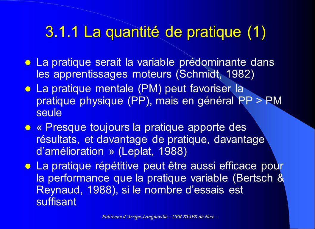Fabienne dArripe-Longueville – UFR STAPS de Nice – 3.2.5 La perception de la difficulté (4) Difficulté perçue et état émotionnel – La perception de la difficulté constituerait un déterminant majeur des variations du niveau dactivation et de lanxiété cognitive (expectations pessimistes quant au succès) – Martens, Vealey, & Burton (1990) : la confrontation entre difficulté perçue et habileté perçue détermine lincertitude perçue (chances que se donne le sujet datteindre le résultat escompté).