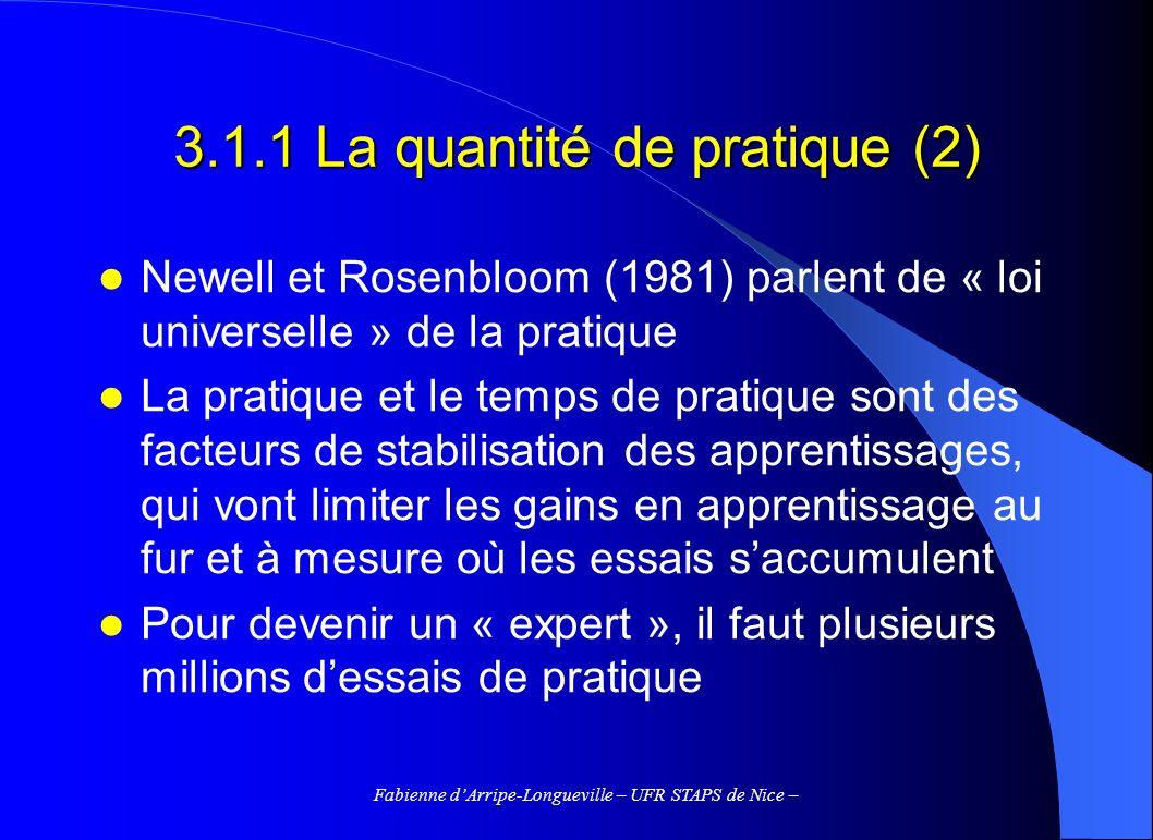Fabienne dArripe-Longueville – UFR STAPS de Nice – 3.1.2 Les effets de la pratique (1) La répétition procurerait une meilleure compréhension de celle-ci La répétition agirait comme un feedback en labsence de celui-ci La répétition contribue à lélaboration des schémas moteurs La répétition contribue à lautomatisation dun geste (Schiffrin & Schneider, 1977)