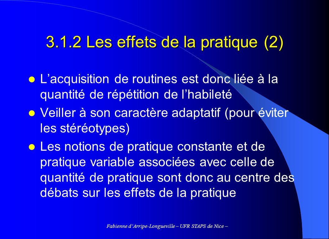 Fabienne dArripe-Longueville – UFR STAPS de Nice – 3.1.2 Les effets de la pratique (2) Lacquisition de routines est donc liée à la quantité de répétit