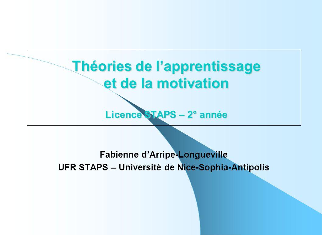 Théories de lapprentissage et de la motivation Licence STAPS – 2° année Fabienne dArripe-Longueville UFR STAPS – Université de Nice-Sophia-Antipolis