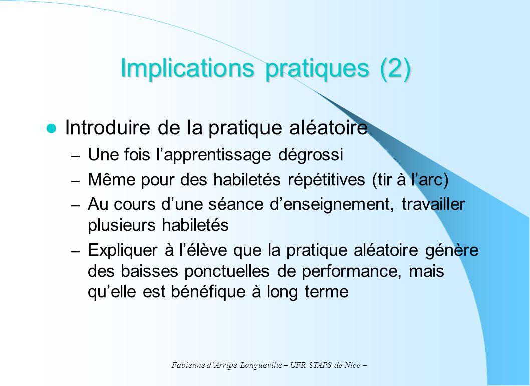 Fabienne dArripe-Longueville – UFR STAPS de Nice – Implications pratiques (2) Introduire de la pratique aléatoire – Une fois lapprentissage dégrossi –