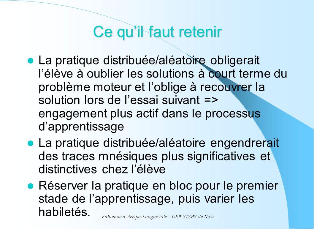 Fabienne dArripe-Longueville – UFR STAPS de Nice – Ce quil faut retenir La pratique distribuée/aléatoire obligerait lélève à oublier les solutions à c