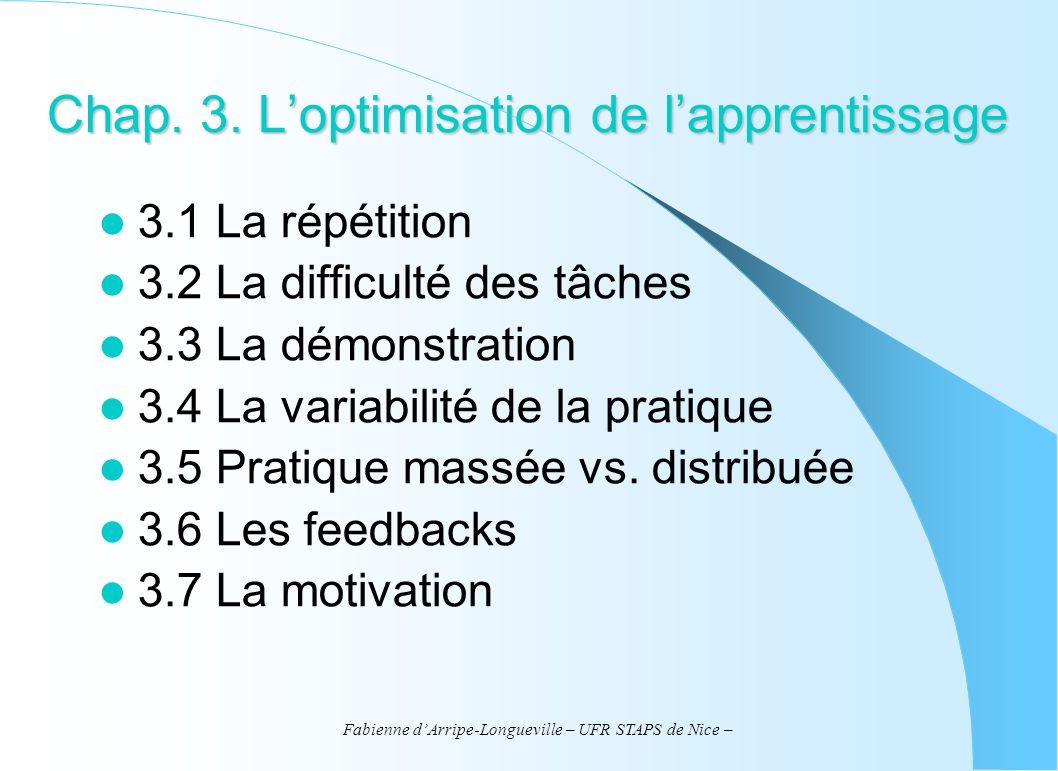 Fabienne dArripe-Longueville – UFR STAPS de Nice – Bibliographie Schmidt, R.A.