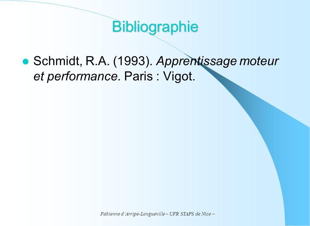 Fabienne dArripe-Longueville – UFR STAPS de Nice – Bibliographie Schmidt, R.A. (1993). Apprentissage moteur et performance. Paris : Vigot.