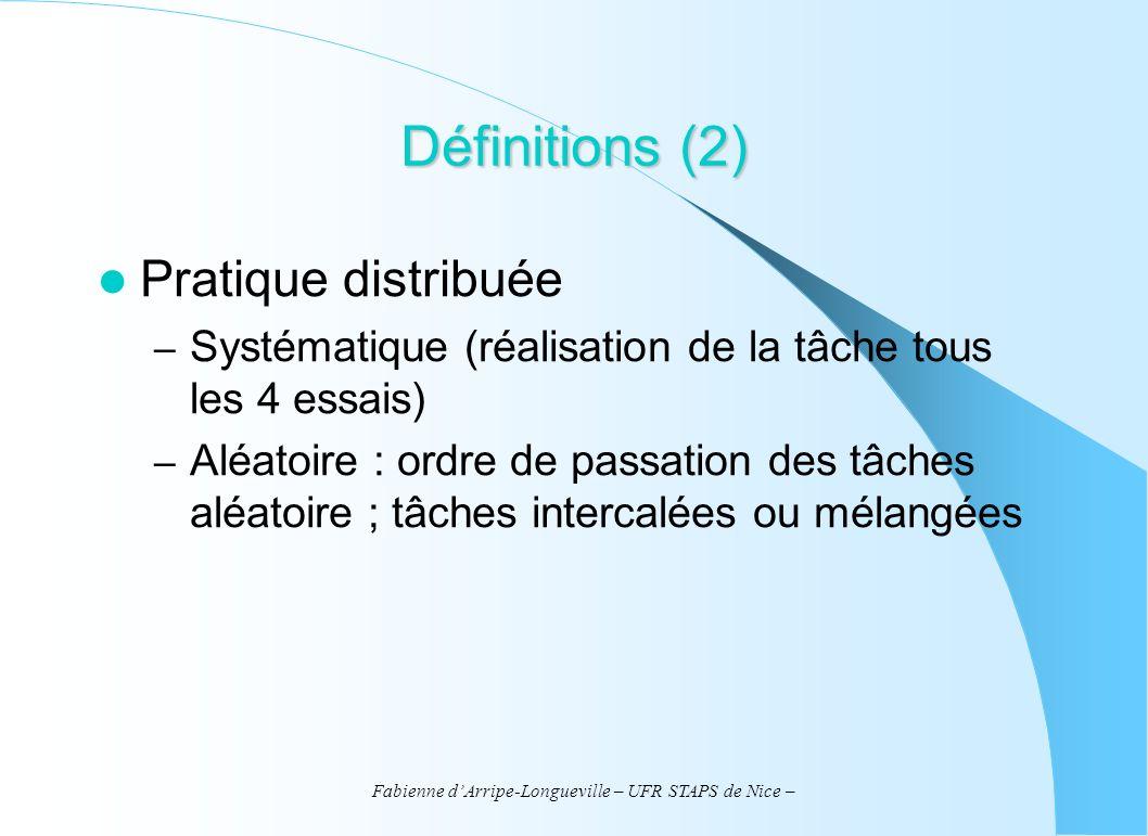 Fabienne dArripe-Longueville – UFR STAPS de Nice – Définitions (2) Pratique distribuée – Systématique (réalisation de la tâche tous les 4 essais) – Al