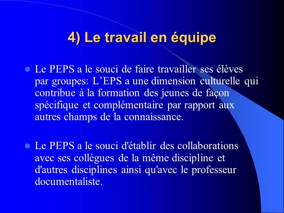 4) Le travail en équipe Le PEPS a le souci de faire travailler ses élèves par groupes: LEPS a une dimension culturelle qui contribue à la formation de