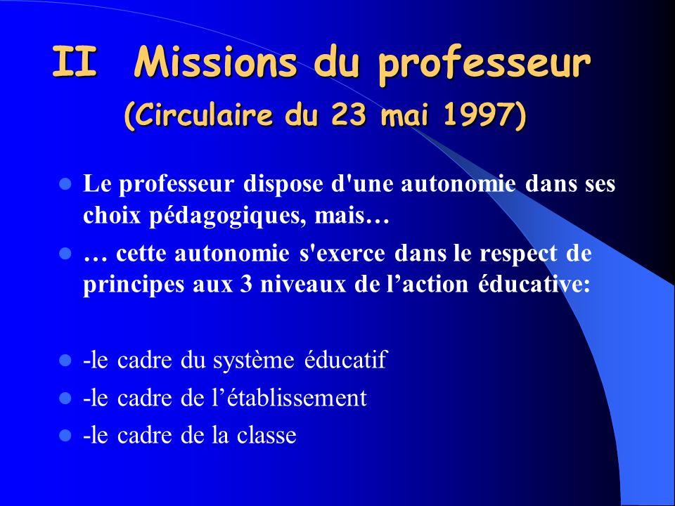 II Missions du professeur (Circulaire du 23 mai 1997) Le professeur dispose d'une autonomie dans ses choix pédagogiques, mais… … cette autonomie s'exe